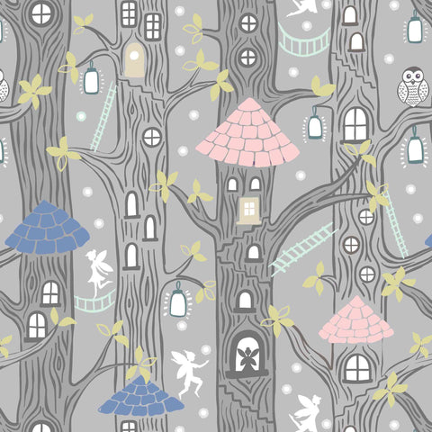 COTTON - Lewis & Irene - Fairy Houses Grey - Fairy Lights - GLOW IN THE DARK! (1/2 yard)