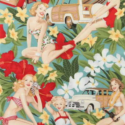 Aloha girls pin up fabric