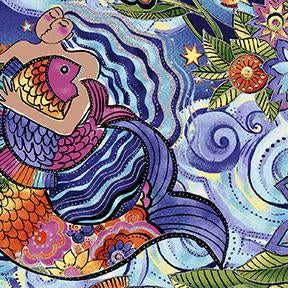 COTTON - Laurel Burch Sea Goddess Metallic  - Clothworks (1/2 yard)