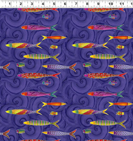 COTTON - Laurel Burch Sea Goddess Fish Purple Metallic  - Clothworks (1/2 yard)