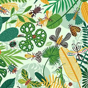 COTTON - Beetlemania - Scattered bugs and Leaves on light mint - Clothworks (1/2 yard)