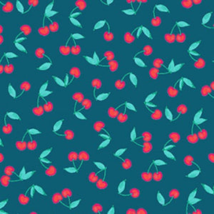 COTTON - Cherries on Dark Teal - Clothworks (1/2 yard)