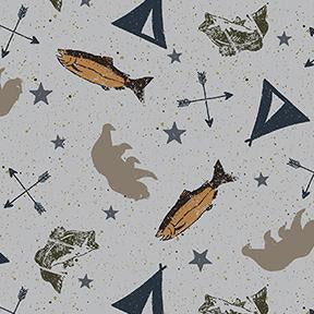 COTTON - Adventure Awaits - Grey - Clothworks (1/2 yard)