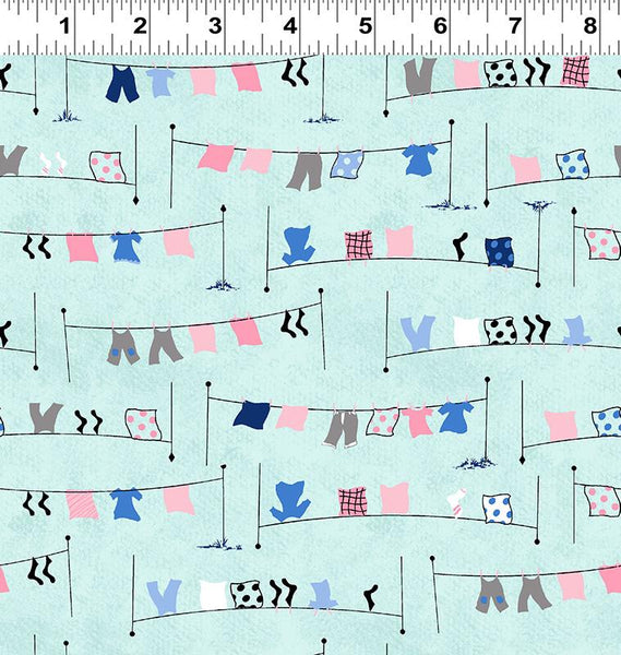 COTTON - Tiny Print Nation - Laundry Line Aqua - Clothworks (1/2 yard)