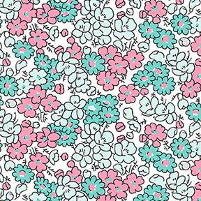 COTTON - Tiny Print Nation - Pink Flowers - Clothworks (1/2 yard)