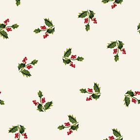 COTTON - Merry and Bright Holly on Light Khaki Metallic- Clothworks (1/2 yard)