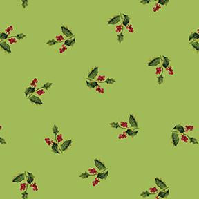 COTTON - Merry and Bright Holly on Green Metallic - Clothworks (1/2 yard)