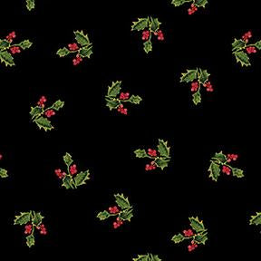 COTTON - Merry and Bright Holly on Black Metallic - Clothworks (1/2 yard)