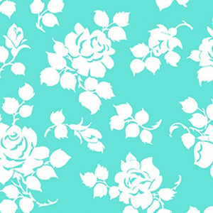 COTTON - Janey White Roses on Aqua - Clothworks (1/2 yard)