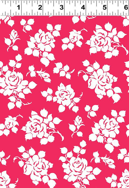 COTTON - Janey White Roses on light Red - Clothworks (1/2 yard)