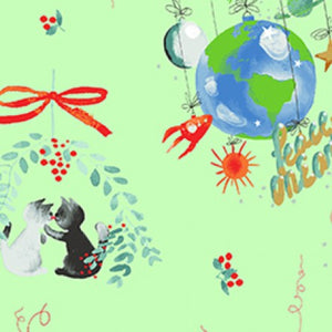COTTON - Purrfect Christmas - Retro Kittens with ornaments and mistletoe - Clothworks (1/2 yard)