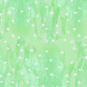 COTTON - Purrfect Christmas - Green Stars - Clothworks (1/2 yard)