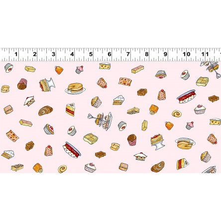 COTTON - Garden Party - Treats on Light Pink - Clothworks (1/2 yard)