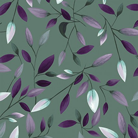 COTTON - Amethyst Garden - Purple leaves on Gray - Clothworks (1/2 yard)