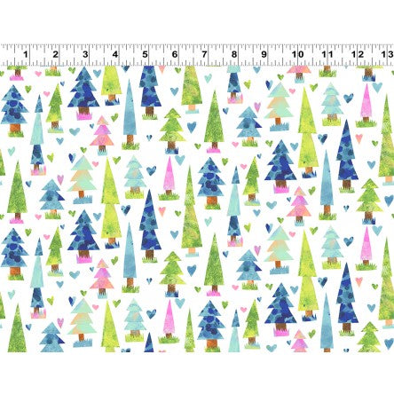 COTTON - You Me and The Trees White - Clothworks (1/2 yard)