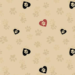 COTTON - Wigglebutts - Paws Khaki - Clothworks (1/2 yard)