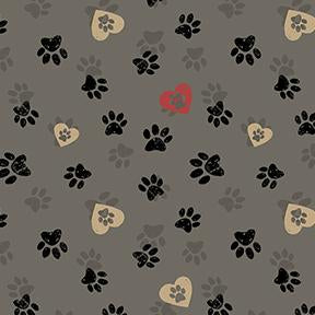 COTTON - Wigglebutts - Paws Grey - Clothworks (1/2 yard)
