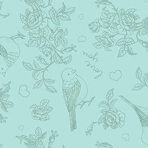 COTTON - Pen Pal GREEN Birds - Clothworks (1/2 yard)