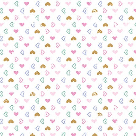 COTTON - Pen Pal - Hearts WHITE - Clothworks (1/2 yard)