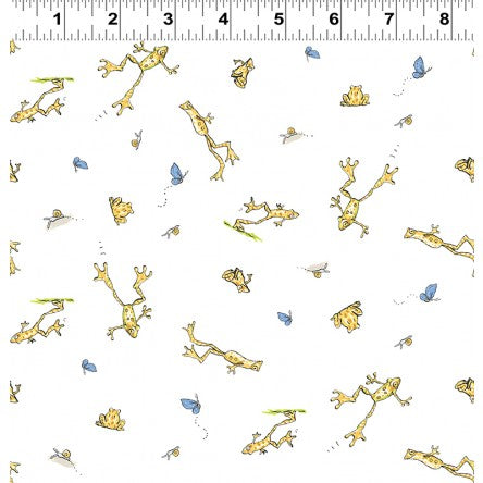 COTTON - When I'm Big Frogs on White - Guess How much I love you - Clothworks (1/2 yard)