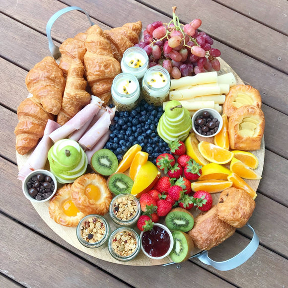 The good morning BREAKFAST platter (on wooden board)