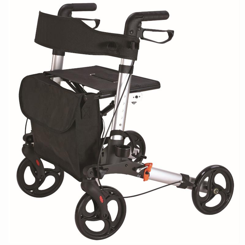 Aluminium Rollator with Brakes, Bag & Seat