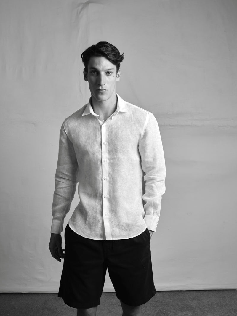 Lefko white linen men's shirt