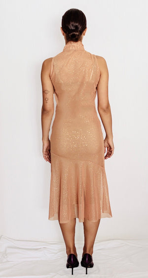 Sparkly nude tulle dress