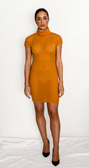 Short sleeved blind stripes dress