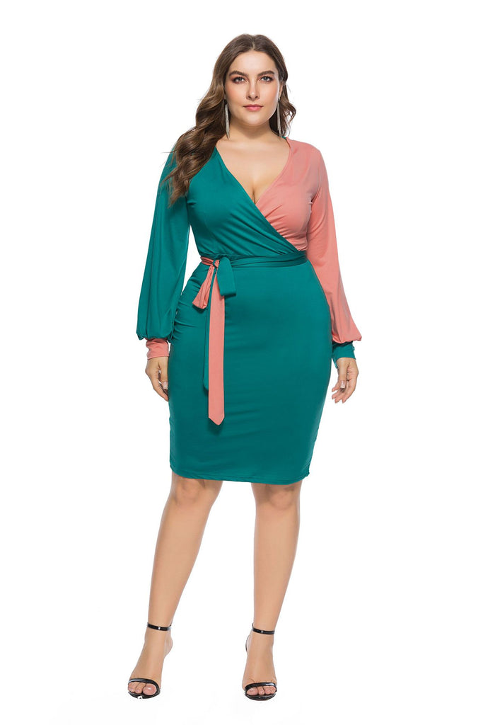 Sexy Color Stitching Plus Size Midi Dress
