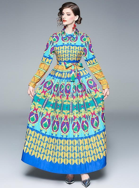 Lapel Long Sleeve Printed Pleated Long Fashion Dress