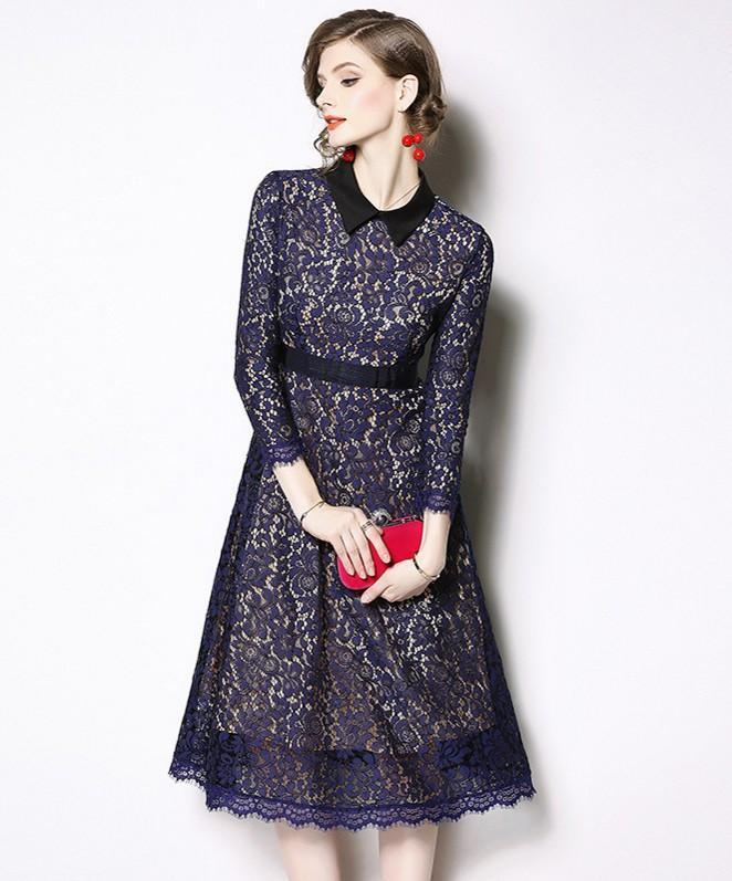 Fashion Lace Hollow Long Sleeves Midi Dress