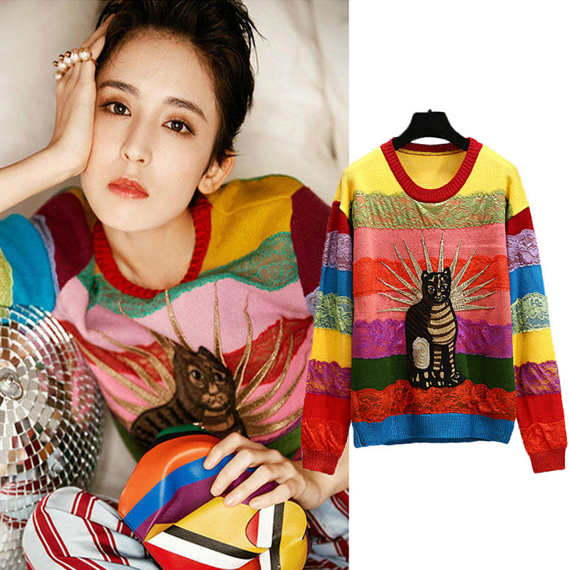 Knitted Cat Embroidery Lace Sweater