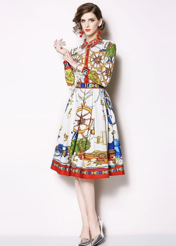 Fashion Print Wild Mid-length Pleated Dress