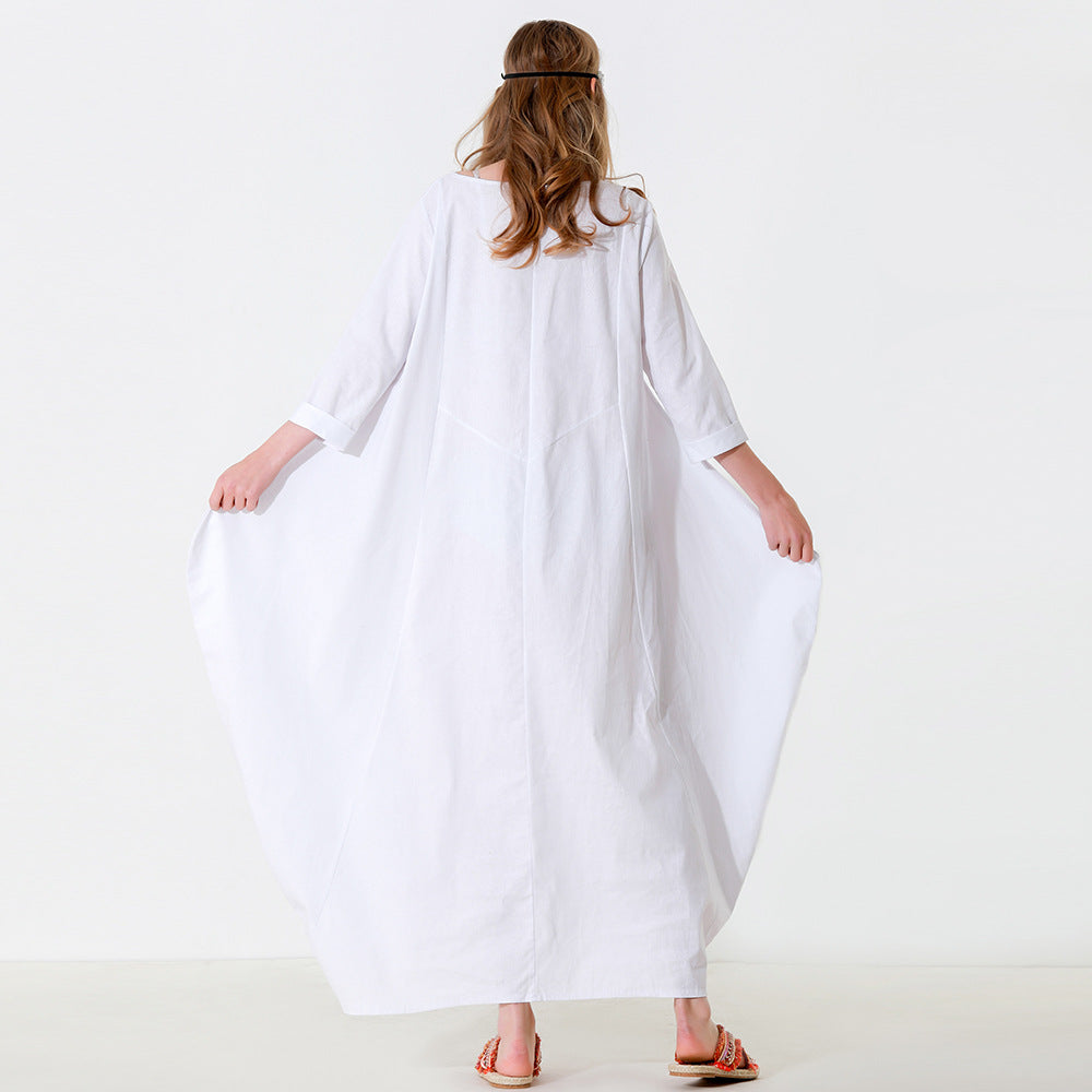 Solid Color White Casual Maxi Dress