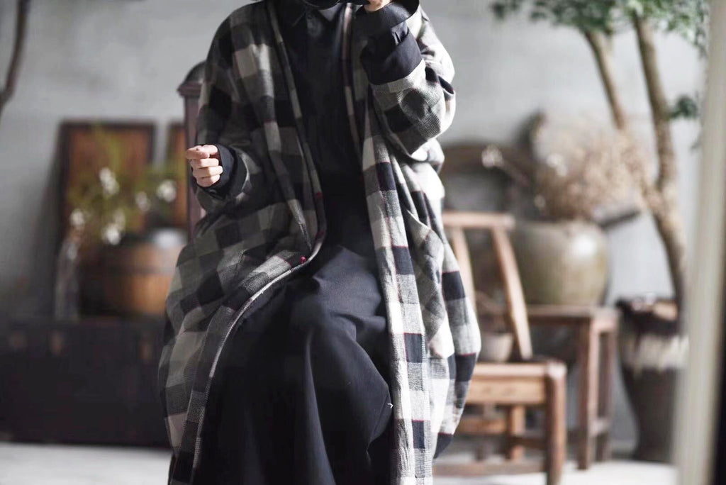 Causual Plaid Cotton Linen Coat