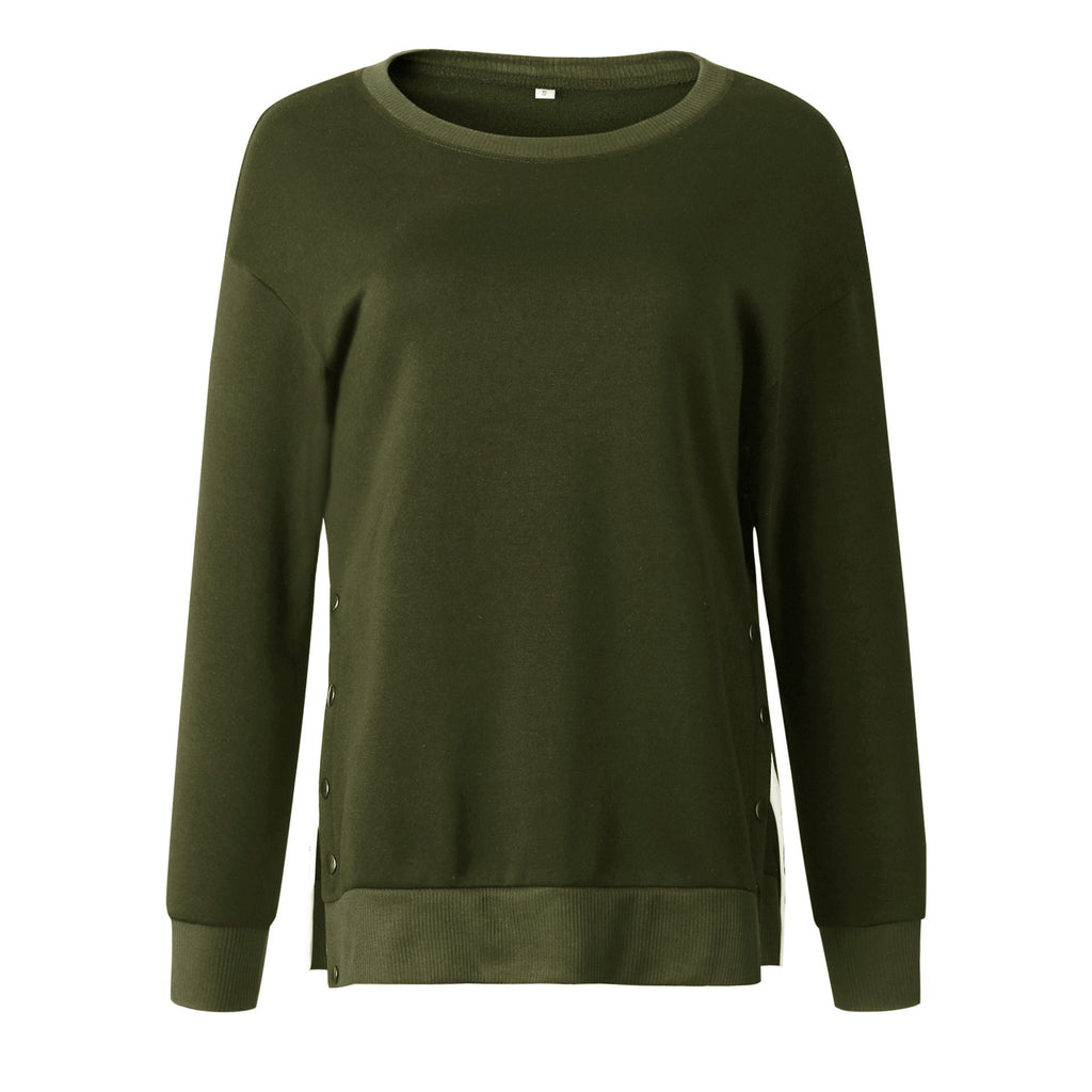 Fashion Round-neck Button Sweatshirt-3color