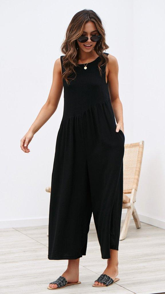 Solid Color Open Back Casual Jumpsuits