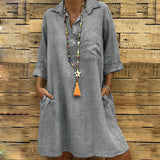 Lapel Casual Half Sleeves Midi Dress with Pocket
