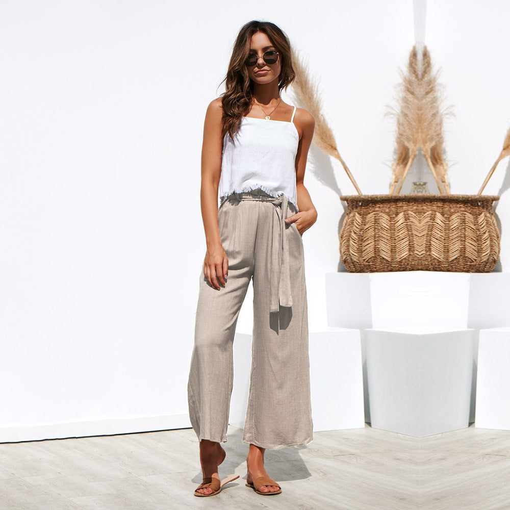 Summer Casual Lace Up Wide Leg Pants