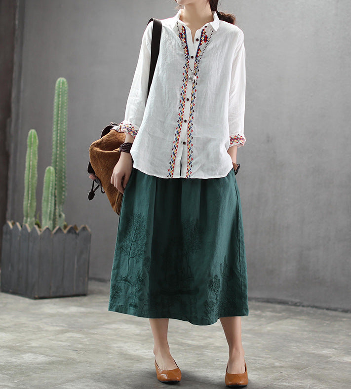 Loose Vintage Stitching Embroidered Shirt