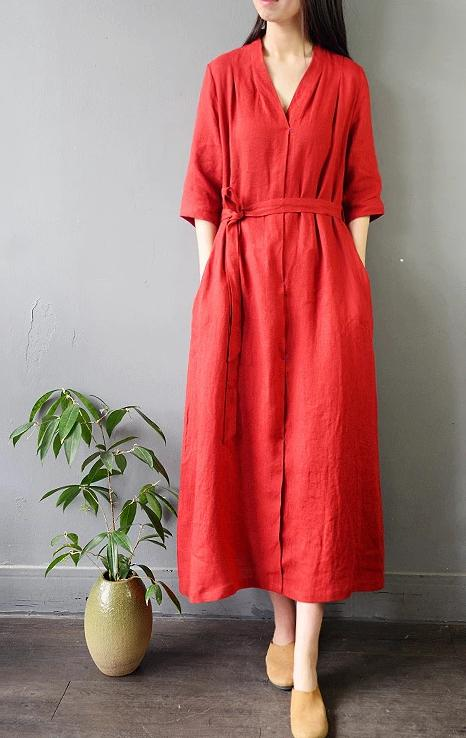 Linen V-neck lace-up Vintage Retro Head-length Midi Dress - Red