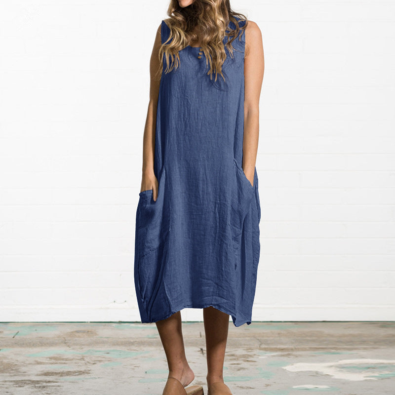 Loose Casual Pocket Cotton Linen Maxi Dress