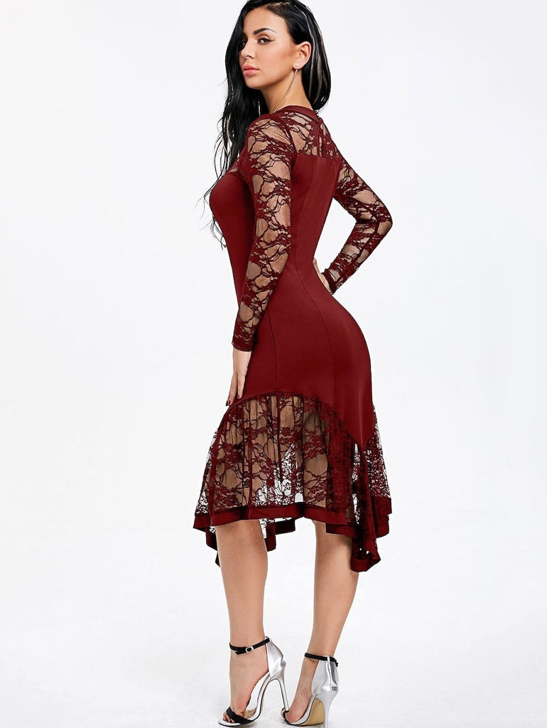 Sexy Lace Long Sleeve Midi Dress