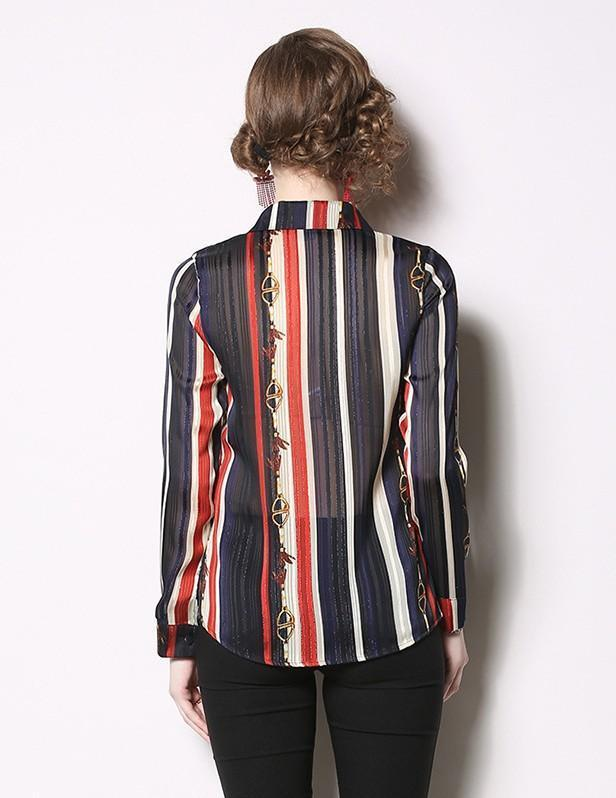 Fashion Lapel Long Sleeve Striped Print Shirt