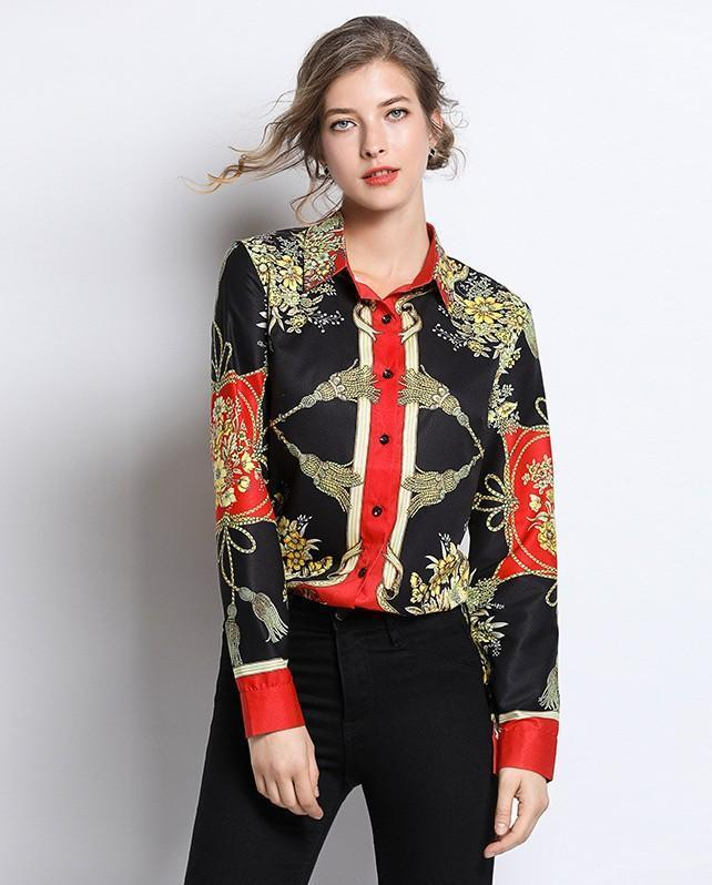 Retro Lapel Long Sleeve Printed Shirt