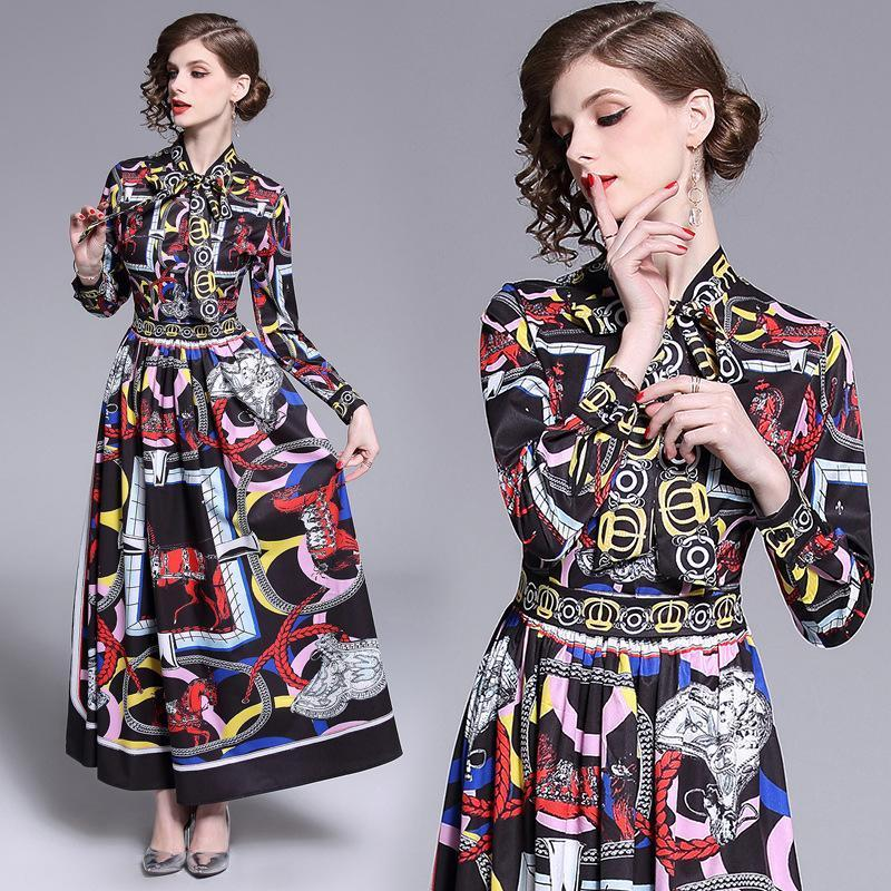 Retro Long Sleeve Fashion Print Long Slim Dress