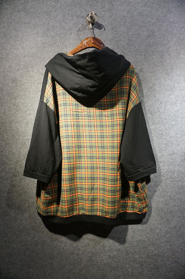 Letter Print Plaid Splicing Hooded Sweatshirt