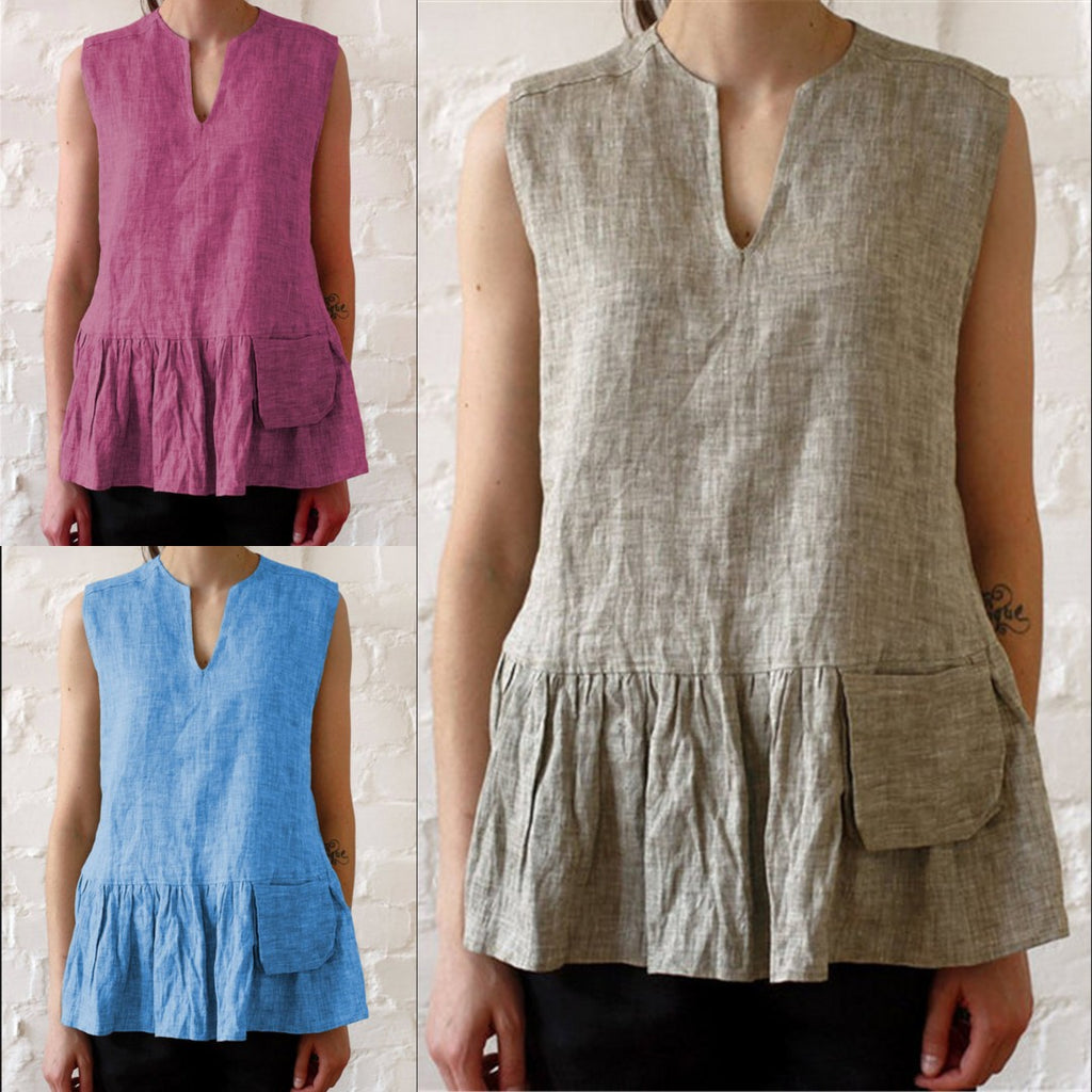 Casual V-neck Stitching Sleeveless Vest T-shirt