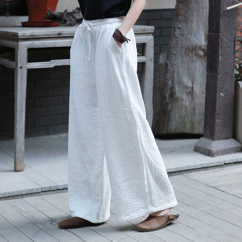 Solid Color Elastic Waist Casual Pant